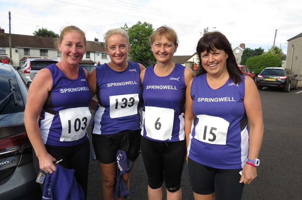 Springwell RC's Elaine Montgomery, Amanda Scott, Deborah Archibald and Catherine Byers at the Broughshane 5 & 10k