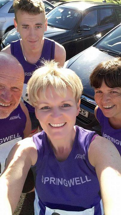 Clockwise from top – Springwell RC's Dale Corbett, Catherine Byers, Lorraine Abernethy and Kenneth Bacon at the Stanley Reid Memorial 5 Mile Road Race in Cookstown.