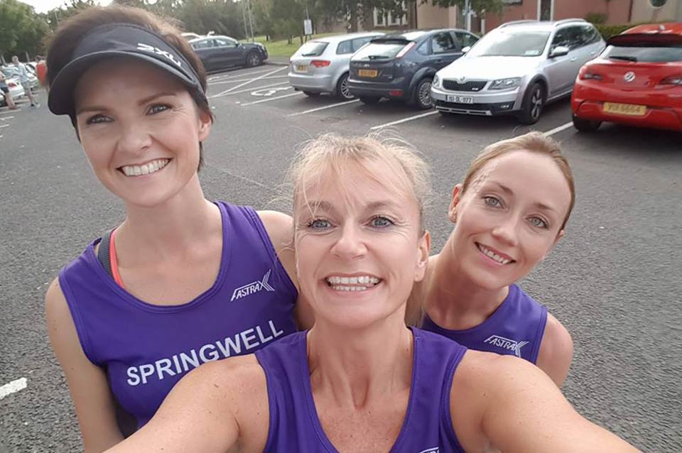 Springwell RC's Ciara Toner, Karen McLaughlin and Julie Millican at the Dessies 10k