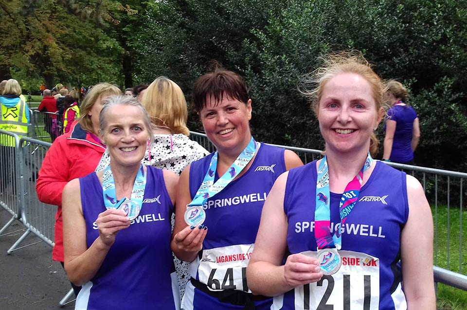 Springwell RC's Janet Patrick, Catherine Byers and Emer Thompson at the Laganside 10k