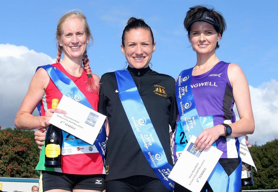 Judith Lowry (City of Lisburn AC), Catriona Jennings (Lettekenny AC) and Ciara Toner (SpringwellRC)