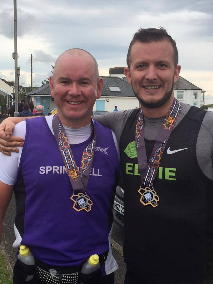 Springwell RC's Davy MacNicol and Eddie Clyde at 26 extreme Causeway Marathon