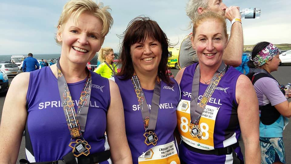 Springwell RC's Lorraine Abernethy, Catherine Byers and Elaine Montgomery at 26 extremes Causeway Marathon