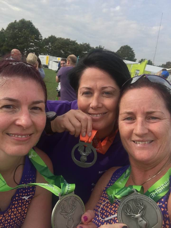Springwell RC's Caroline Taylor, Rebecca Clarke and Alison McAllister at the Robin Hood Marathon