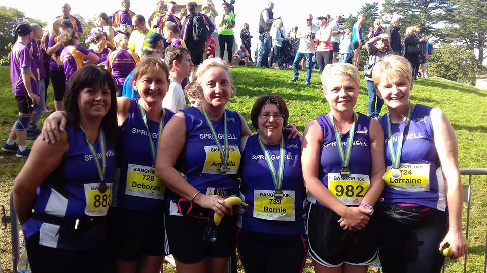 Springwell RC's Catherine Byers, Deborah Archibald, Amanda Scott, Bernie Drain, Kathy Donaghey and Lorraine Abernethy at the Bangor 10k