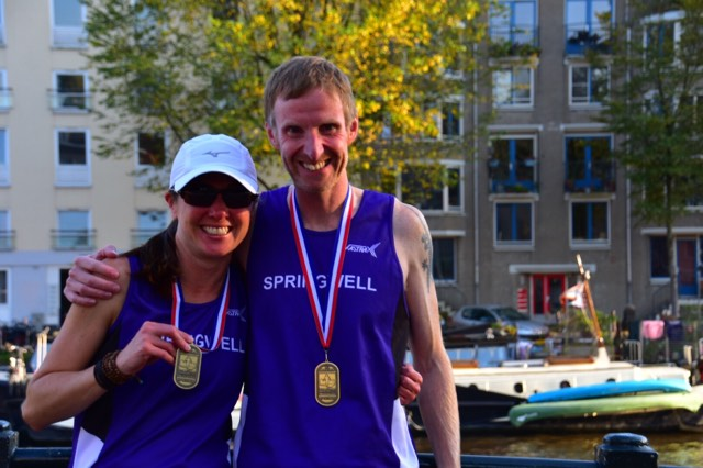 Springwell RC's America Aznar and Simon Stewart at the Amsterdam Marathon