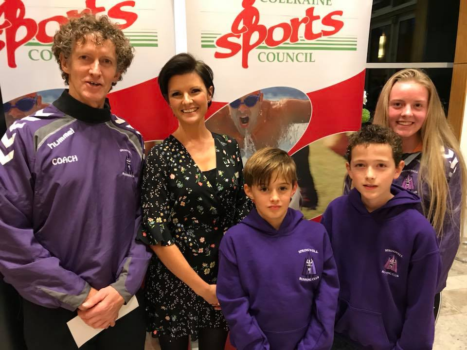Springwell RC's Alistair Bratten and Ciara Toner with Junior Section members at the Coleraine Sports Council Awards