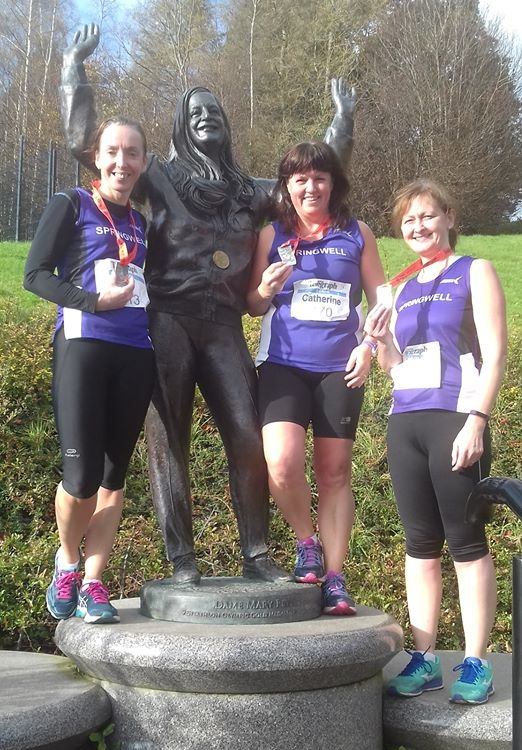 Springwell RC's Liz Dowey, Catherine Byers and Deborah Archibald at Born 2 Runs Minnowburn 10k