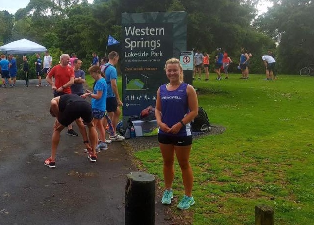 Springwell RC's Becky Coulter at the Western Spring Parkrun, Auckland, New Zealand