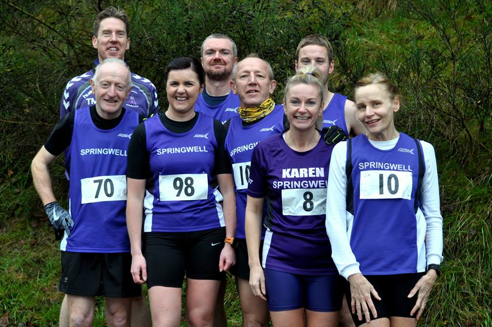 Springwell RC's Thomas Moore, Jim Breen, Lynne Young, Timothy Bacon, Michael Johnson, Karen McLaughlin, Jeff Young and Elizabeth Deighan at the Davagh 10k (Photo – Richard McLaughlin)