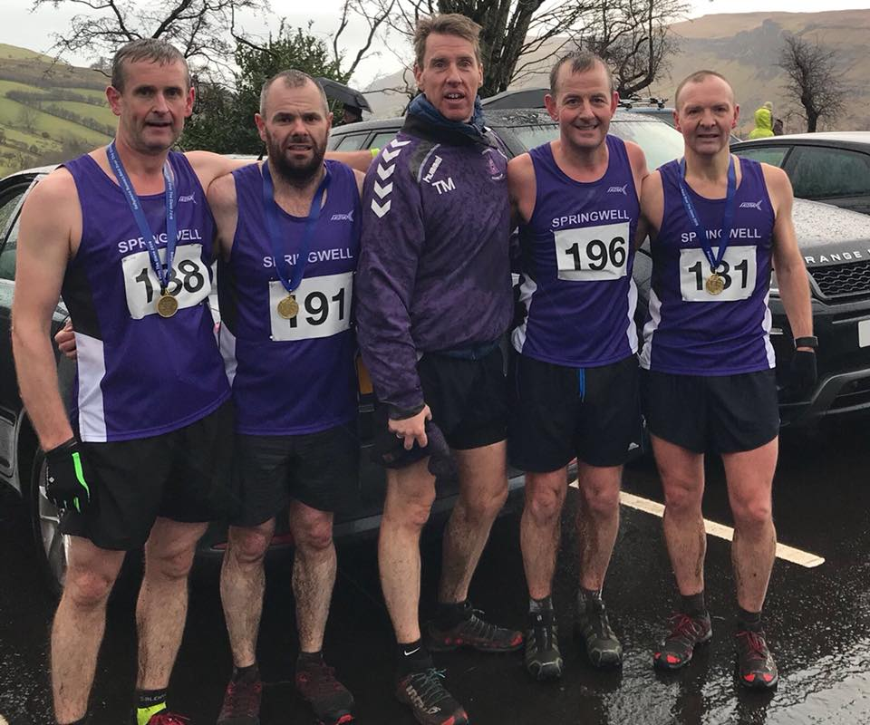 Springwell RC's Alister Jamison, Barry Mullan, Thomas Moore, Maurice Walker and Alex Brennan at the Race Over The Glens