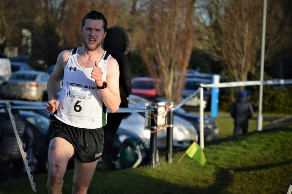 Springwell RC's Neil Johnston in NIR colours at the IAAF Cross Country in Antrim