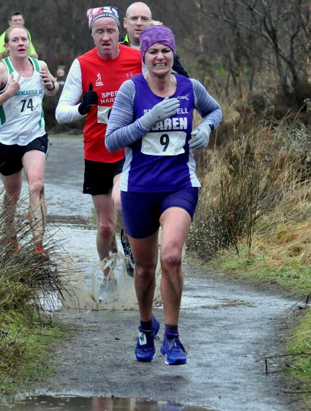 Springwell RC's Karen McLaughlin – 2nd lady at the An Cregan 5 mile trail race (photo Richard McLaughlin)