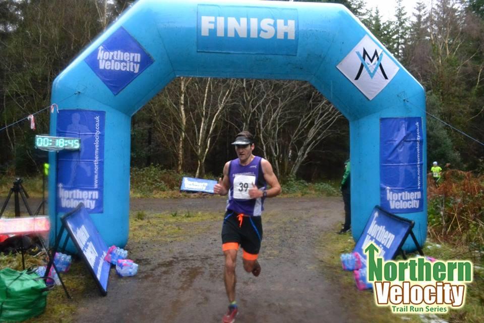 Springwell RC's Rhodri Jones winning the Northern Velocity Ballykelly 5k Trail Race