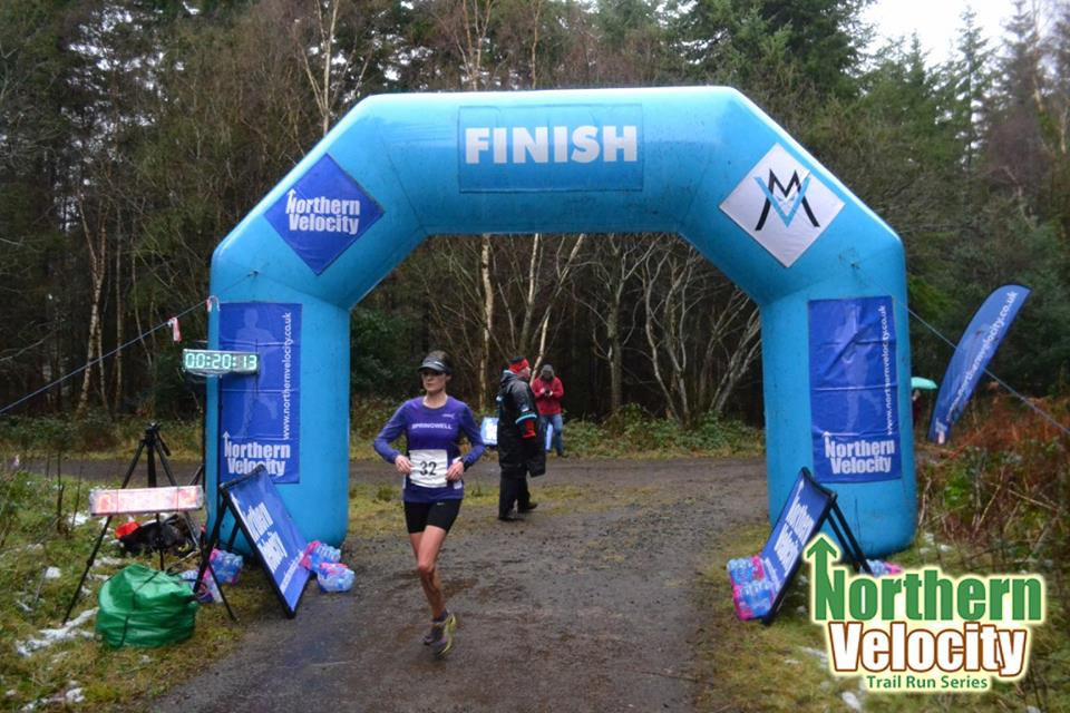 Springwell RC's Ciara Toner winning the Northern Velocity Ballykelly Trail Race.