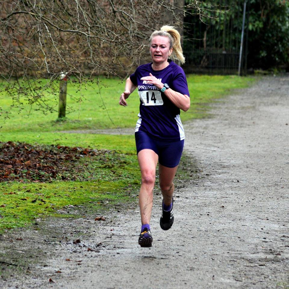 Springwell RC's Karen McLaughlin at the Drum Manor 10k (photo Richard McLaughlin)