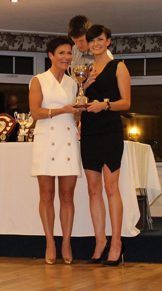 Ciara Toner receives the Club Championship Trophy from Fran McFadden