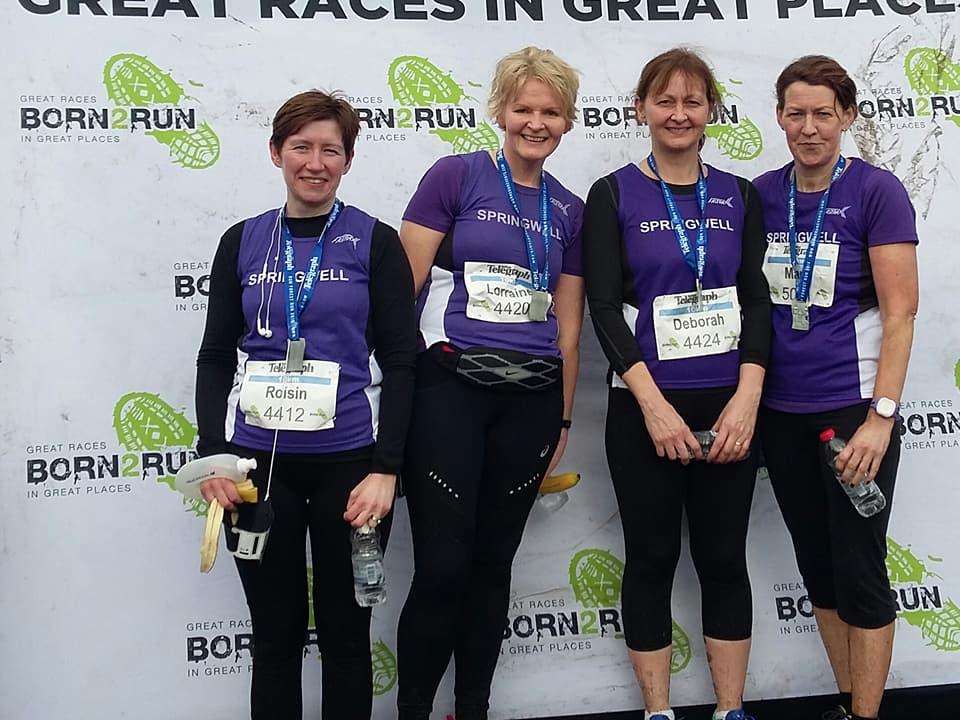 Springwell RC's Roisin Walker, Lorraine Abernethy, Deborah Archibald and Mary Brogan at the Born 2 Run 10k