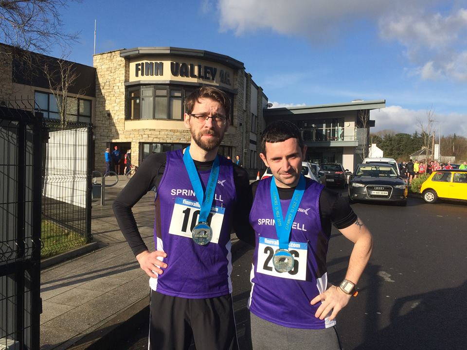Springwell RC's Will Colvin and Patrick Gallagher at the Finn Valley AC Glenmore 10mile Road Race