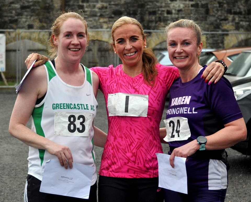 Olivia Mullin (Greencastle AC), Cathy McCourt (Unattached) and Karen McLaughlin (Springwell RC) Photo – Richard McLaughlin.