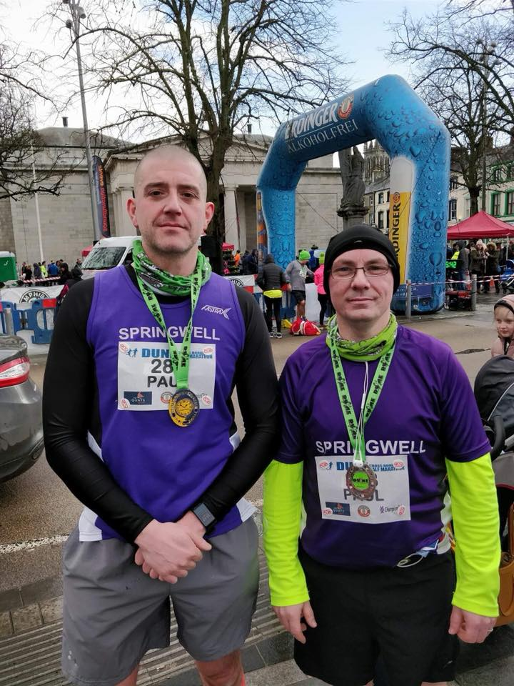 Springwell RC's Paul Humphreys and Paul Quinn at the Dune Half Marathon