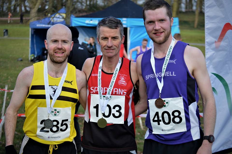 Mark McKinstry (North Belfast Harriers), Declan Reed (City of Derry Spartans) and Neil Johnston (Springwell RC) Photo courtesy of NIRunning