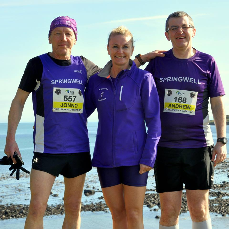 Springwell RC's Michael 'Jonno' Johnson, Karen McLaughlin and Andrew Wilmot at the AES Larne HM (Photo – Richard McLaughlin)