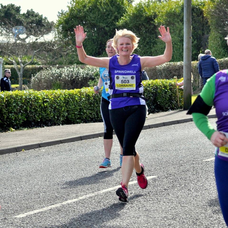 Springwell RC's Lorraine Abernethy at the AES Larne Half Marathon (Photo – Richard McLaughlin)