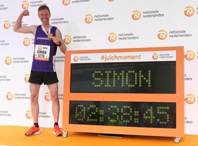 Springwell RC's Simon Stewart at the Rotterdam Marathon.