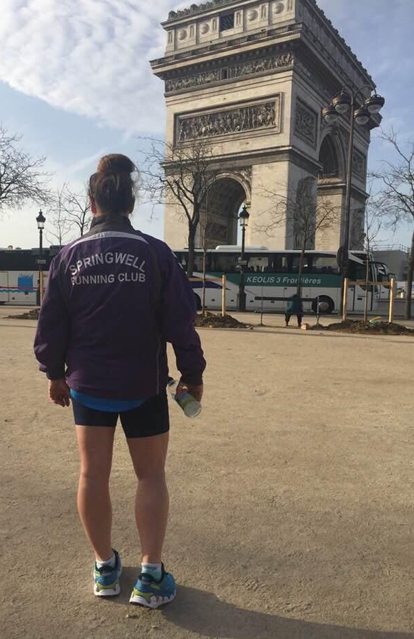 Springwell RC's Ali McAllister at the Paris Marathon.
