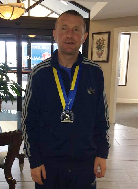 Springwell RC's Paul Thompson with a hard earned Boston Marathon Medal