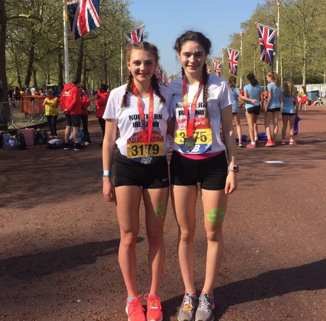Springwell RC's Hermione Skuce and Niamh Carr with Team NI at the London Mini Marathon