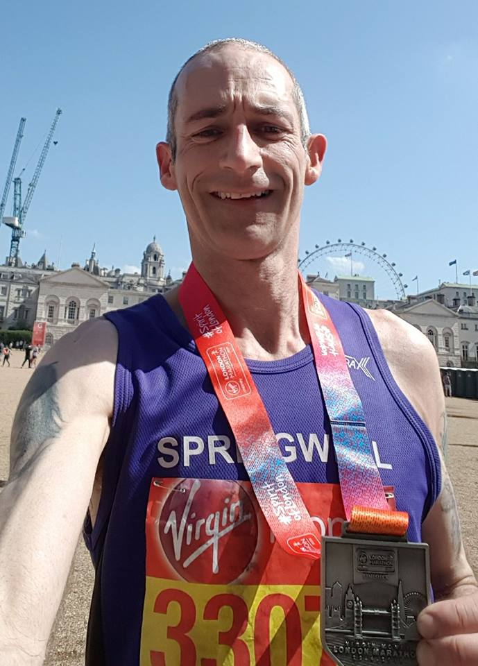 Springwell RC's Chris Denton at the 38th London Marathon