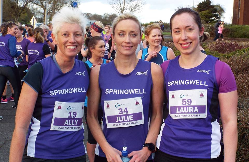 Springwell RC's Ally Kelly, Julie Millican and Laura Wilson at the GES Purple Ladies 5k