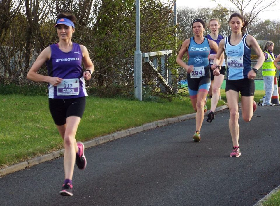 Ciara Toner leads the GES Purple Ladies 5k from Gemma McDonald, Sonia Knox and Deborah Gilliland.