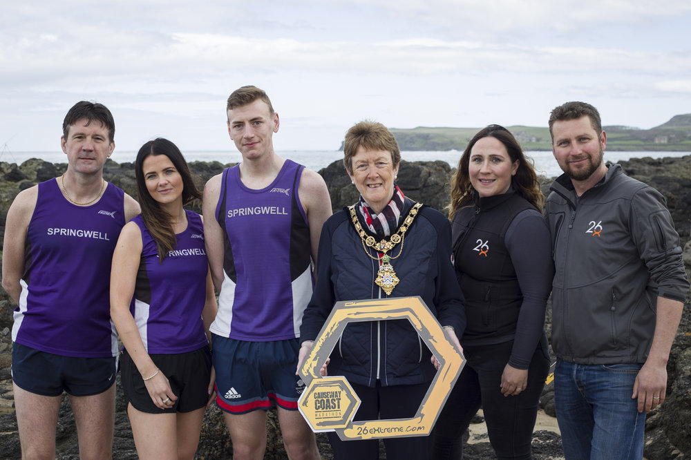 Springwell RC's David McGaffin, Carolyn Crawford and Dale Corbett, Councillor Joan Baird Mayor of Causeway Coast and Glens and 26extreme's Lucy and Ian Cumming (photo – 26 extreme)