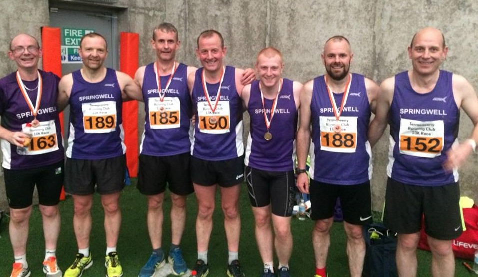 Springwell RC's Paul Quinn, Alex Brennan, Alister Jamison, Maurice Walker, Andy Dowey, Barry Mullan and Jimmy Stewart.