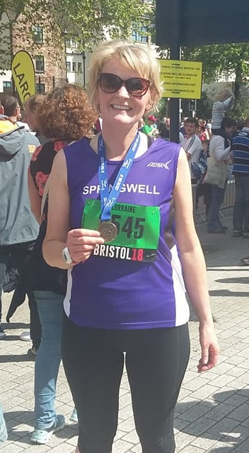 Springwell RC's Lorraine Abernethy at the Simplyhealth Great Bristol 10k