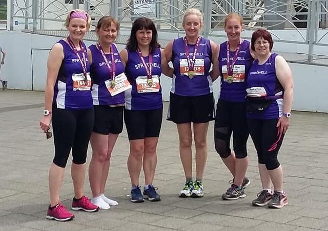 Springwell RC's Lorraine Abernethy, Deborah Archibald, Catherine Byers, Amanda Scott, Elaine Montgomery and Bernie Drain