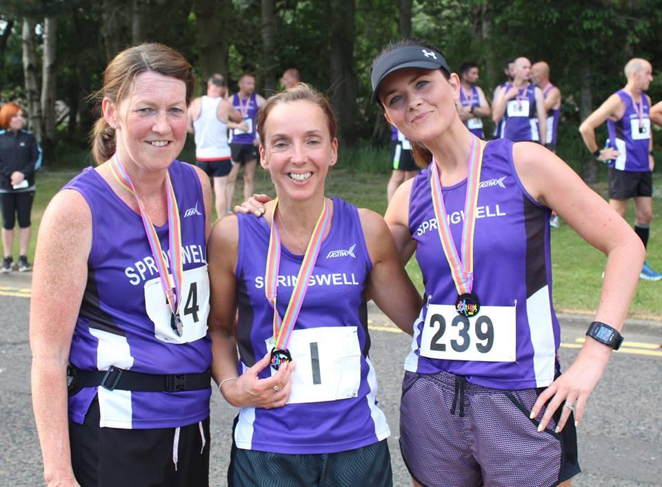 Mary Brogan, Liz Dowey and Carolyn Crawford at the Boom 10k