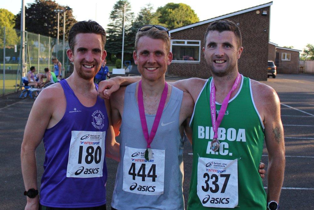 Scott Rankin (Foyle Valley AC), Andrew Annett (North Belfast Harriers) and John Kinsella (Bilboa AC)