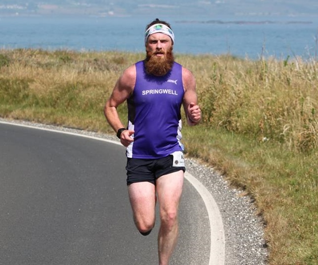Springwell RC's Alistair Shaw at the Antrim Coast Road Marathon (Photo – Dermot Boyd)