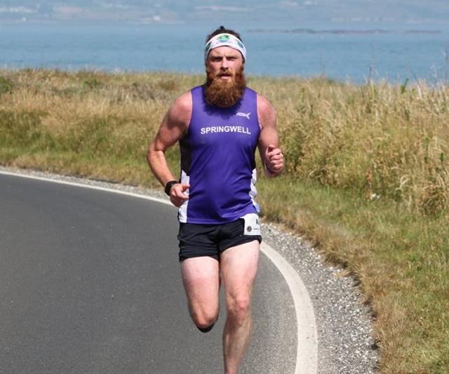 Springwell RC's Alistair Shaw at the Antrim Coast Road Marathon (Photo – Dermot Boyd)