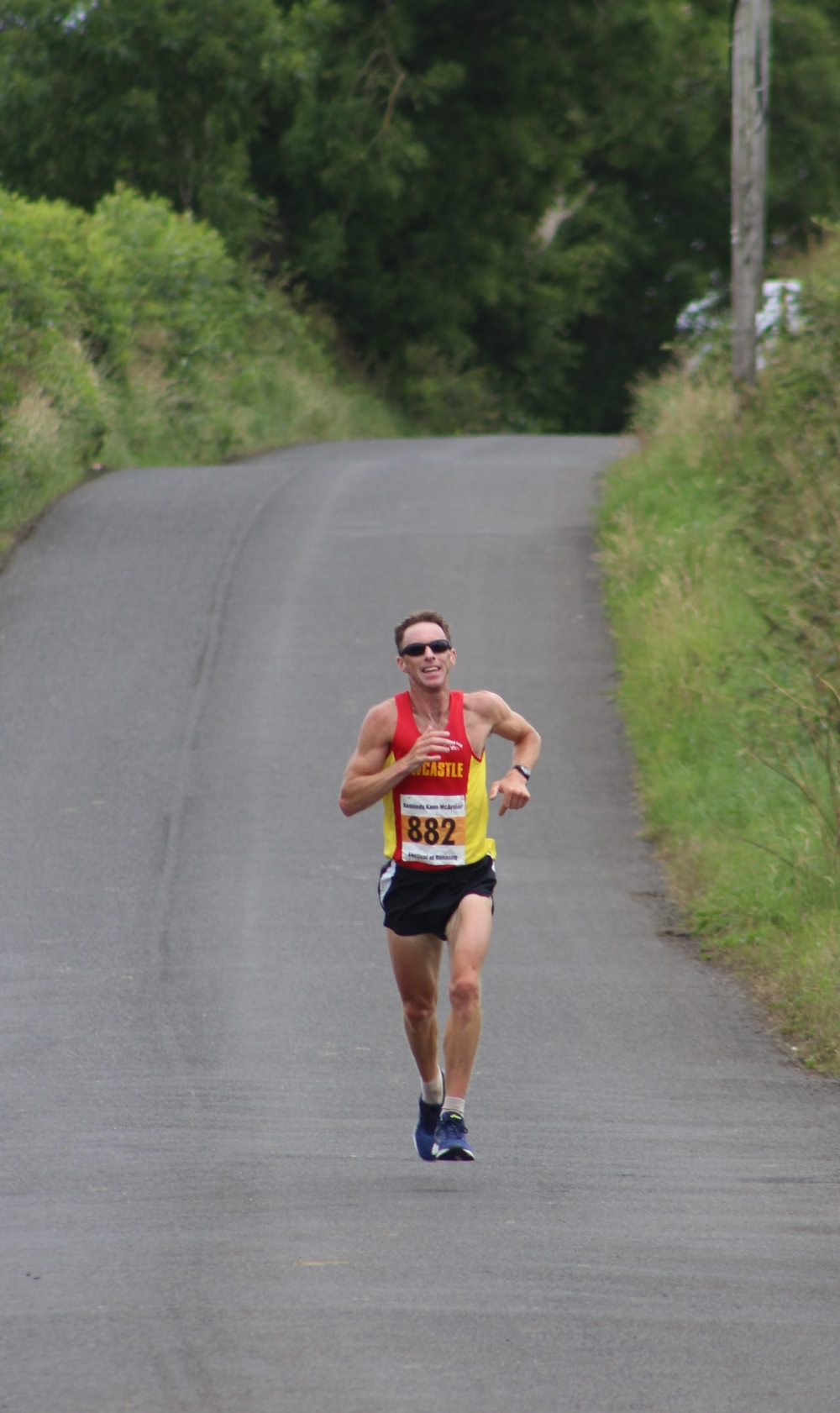Newcastle AC's David Simpson on his way to winning the KKMcA Half Marathon