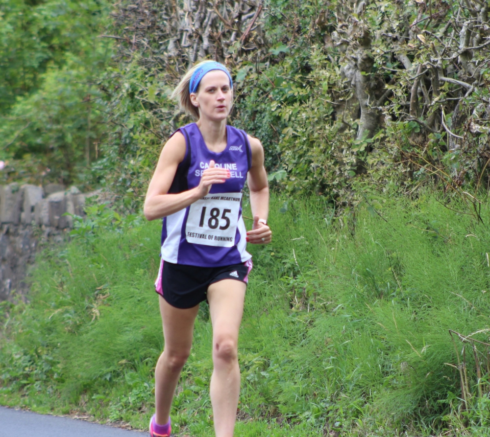 Springwell RC's Caroline Irwin on her way to winning the 5 Mile Road Race