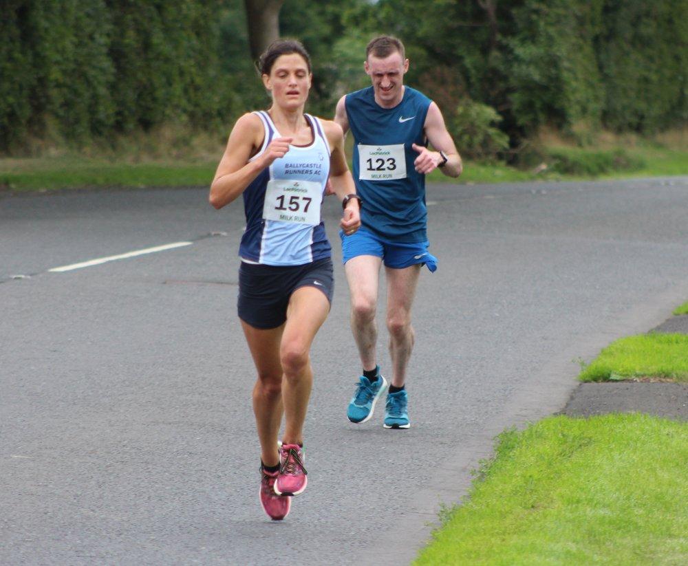 Gemma McDonald (Ballycastle Runners) followed by Gary Hegarty (unattached)