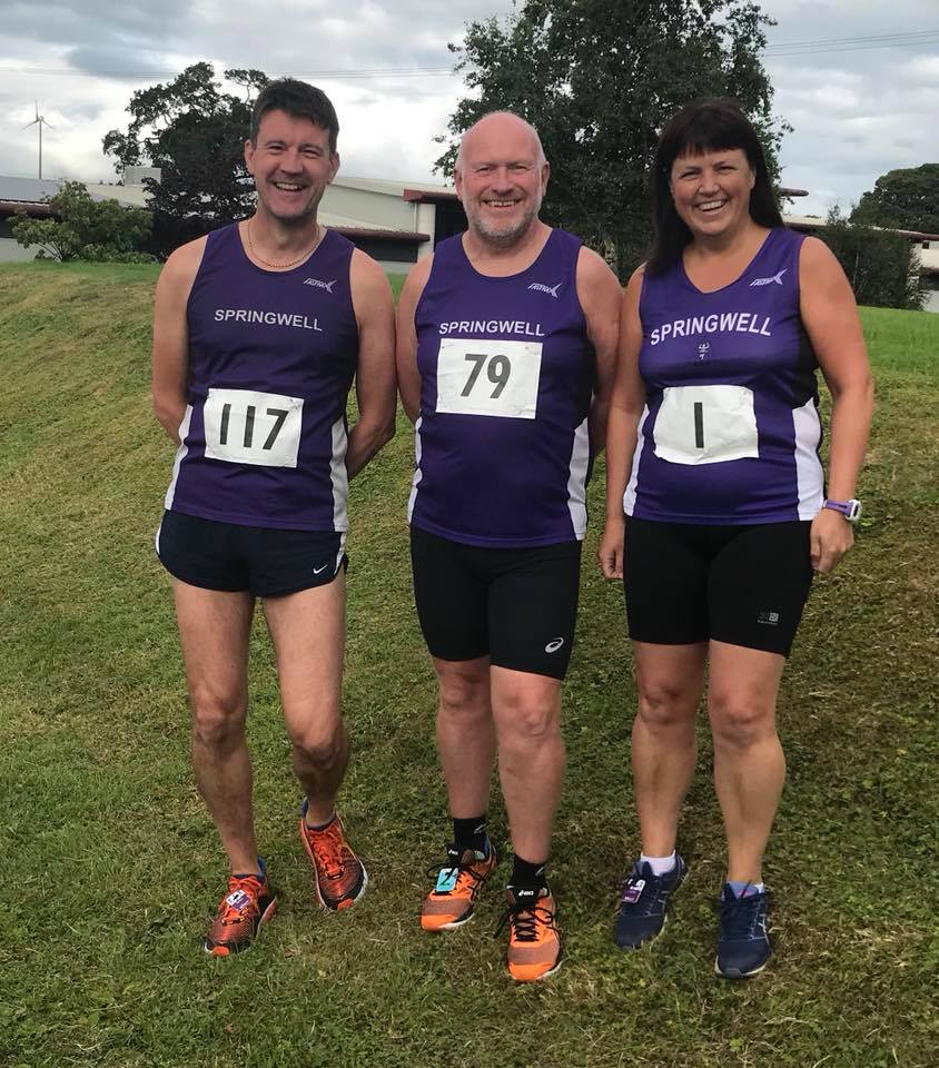 Springwell RC's David McGaffin, Kenneth Bacon and Catherine Byers at the Stanley Reid Memorial Road Race