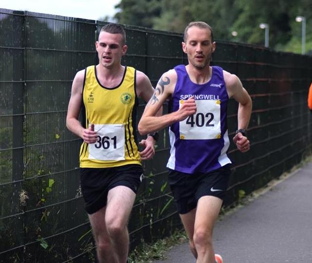 David McMenamin (Inisowen AC) & Steven McAlary (Springwell RC) at Dessies 10k  (Photo Local Derry Sport)