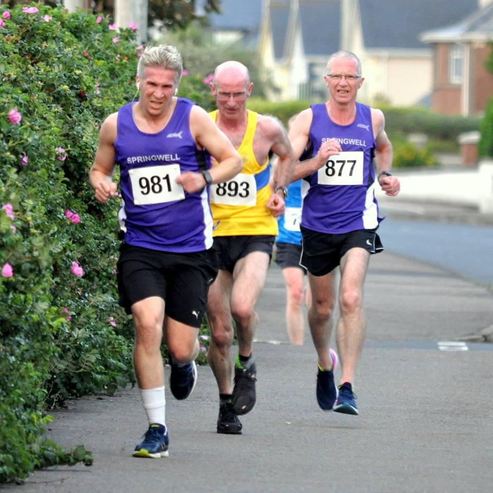 Alan Nevin (Springwell RC), Ted Gourley (Giffock North AAC) and Bryan Edgar (Springwell RC)  (Photo Richard McLaughlin)