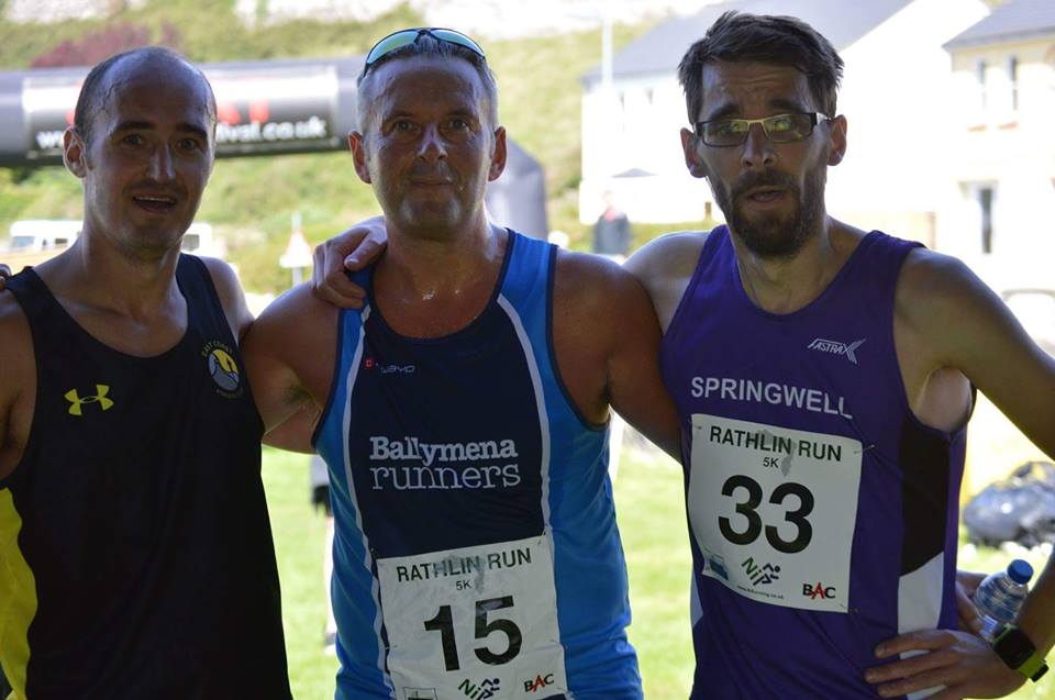 The top three at the Rathlin Run 5k – Brian Maltman (East Coast AC), Peter Fleming (Ballymena Runners) and Will Colvin (Springwell RC)
